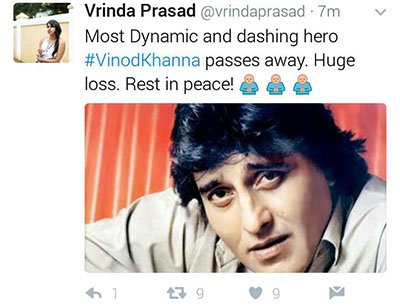 fans post regarding the death of vinod khanna