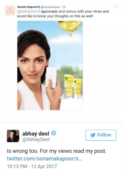 sonam kapoor shares an ad campaign of esha deol of fairness cream which sonam kapoor brought into picture