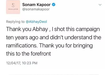 sonam kapoor thanking abhay for bringing up her old ad campaign in limelight