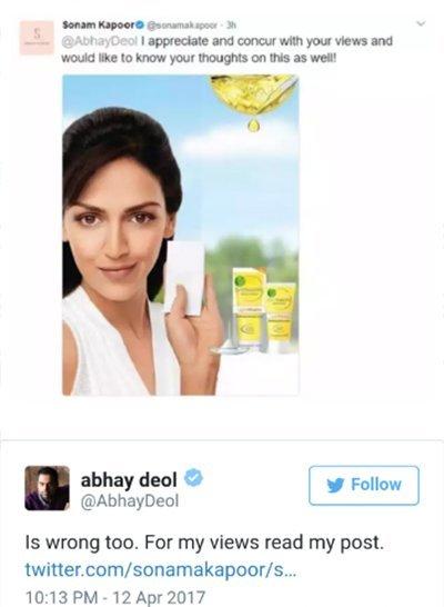 sonam kapoor shares an ad campaign of esha deol of fairness cream
