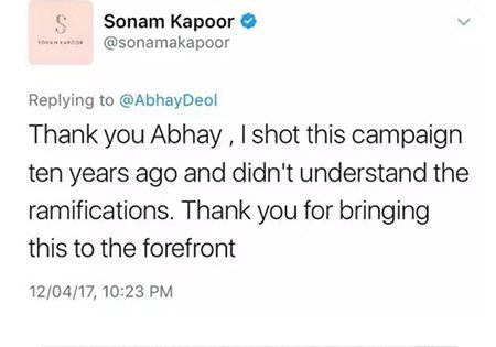 sonam kapoor thanking abhay for bringing up her old ad campaign