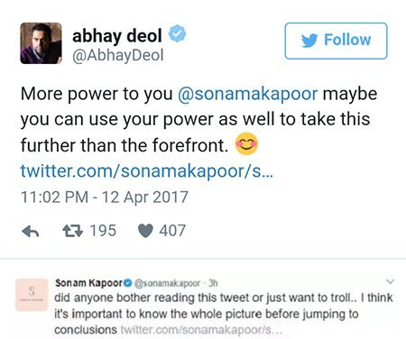 abhay deol and sonam kapoors twitter conversation one