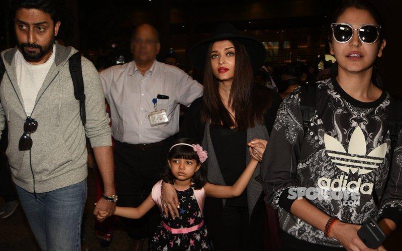 Aishwarya, Abhishek & Anushka Return To Mumbai After Their Vacation!