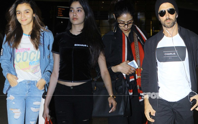 AIRPORT SPOTTING: Alia, Jhanvi, Sridevi, Hrithik Travel In Style!