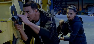 taapsee pannu and akshay kumar in an action scene from naam shabana