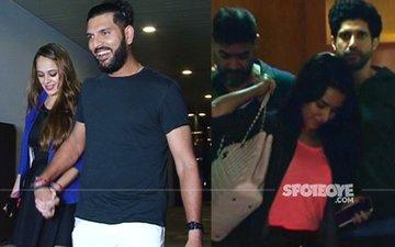 SPOTTED: Yuvraj Heads Out With Fiance Hazel, Farhan Bids Goodbye To 'Good Friend' Shraddha