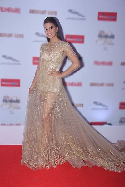 jacqueline fernandez in a sheer gown at an award show