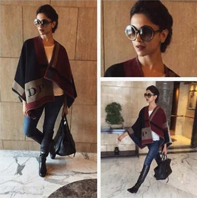 deepika padukone in a burberry while travelling