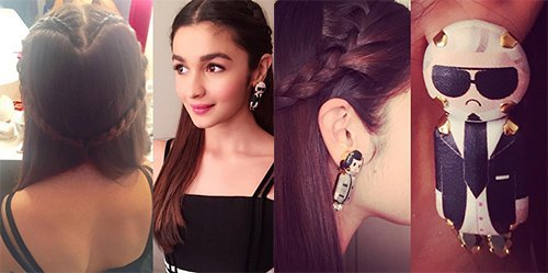 alia bhatt s heart shaped braid and karl lagerfeld and coco chanel inspired earrings