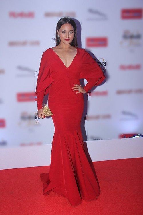 sonakshi sinha in monisha jaising red gown