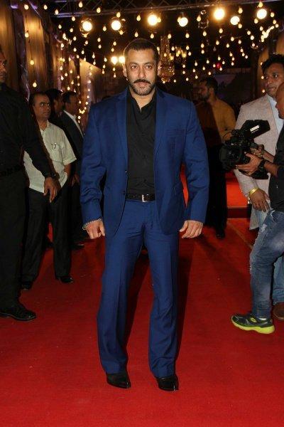 salman khan in an blue suit at an awards event