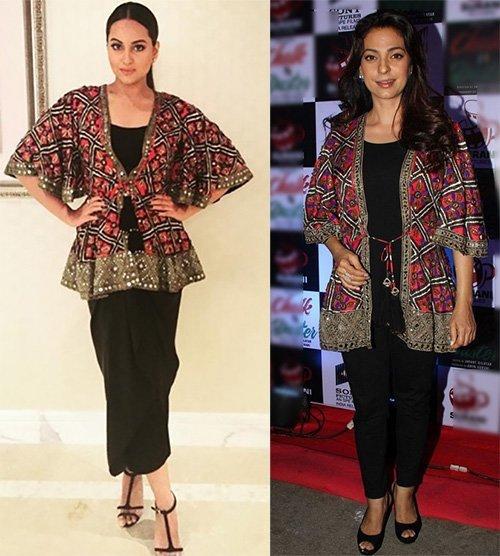 sonakshi sinha and juhi chawla wore similar jacket
