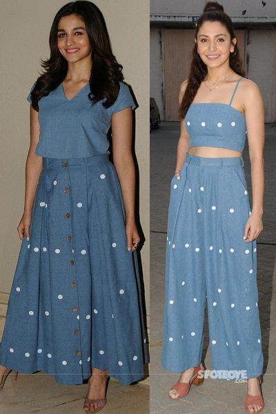 alia bhatt and anushka sharma rocked a similar looking denim dress. Same same but different