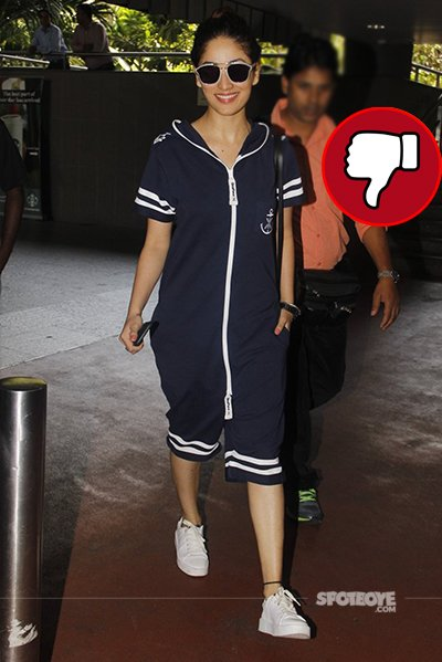 yami gautam looks hideous in this pjs and top while exiting airport