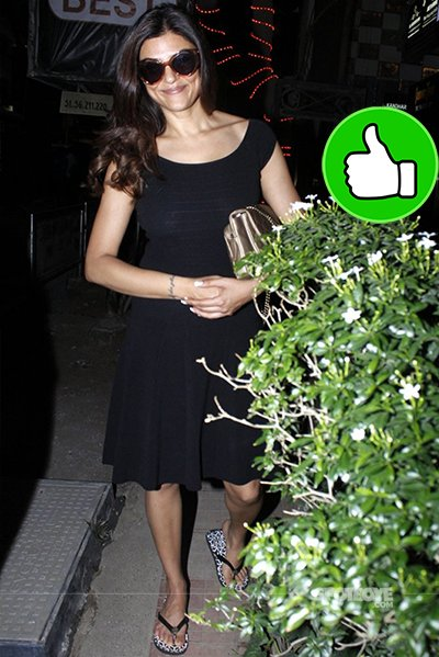 sushmita sen looks ravishing in this black dress while spotted at a suburban eatery