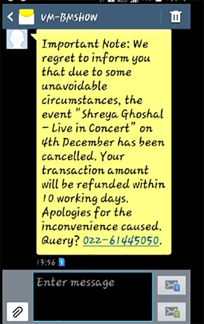 Shreya Goshal Concert Cancelled Due To Demonetisation