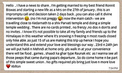 kavita kaushik whatsapp wedding invite