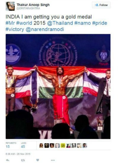 thakur anoop singh s tweet on winning mr world