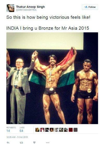 thakur anoop singh s tweet on winning mr asia