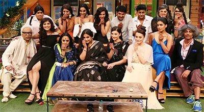 vidya balan and the cast of begum jaan on the kapil sharma show