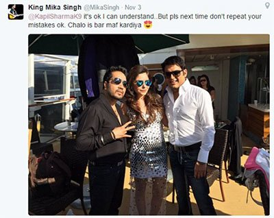 mika singh accepts kapils sharma apology tweet