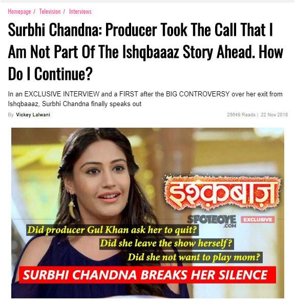 surbhi chnadana interview