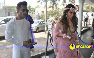 In Pics:  Karan Singh Grover, Bipasha arrive for Mehendi ceremony