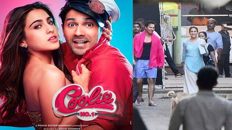 Sara Ali Khan Stuns In Desi Wear And Varun Dhawan Sports Dada Kondke Kinda Shorts; Pics From The Sets Of Coolie No 1