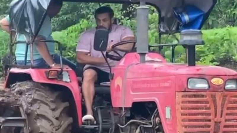 Salman Khan Rides A Tractor At His Panvel Farmhouse, Gets All Muddy And Dirty In The Rain - Don't Miss This VIDEO