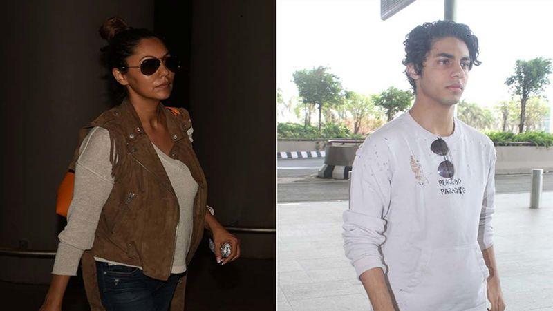 Shah Rukh Khan's Wife Gauri Khan And Son Aryan Khan SPOTTED At Mumbai Airport As They Head To New York To Meet Suhana Khan