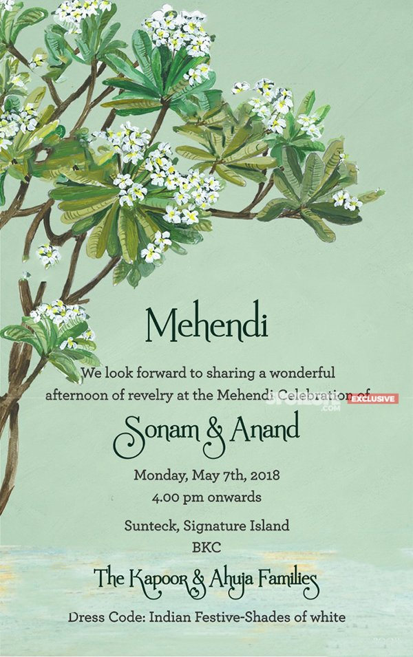 Invite For Sonam Kapoor s Mehendi Ceremony