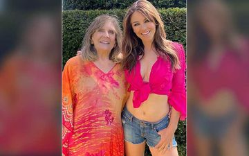 Elizabeth Hurley Flaunts Her Toned Abs In A Hot Pink Crop Top And Shorts; Shares Pic Celebrating Mom's 80th Birthday