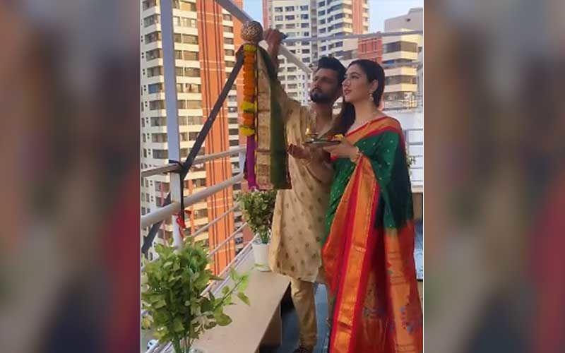 Happy Gudi Padwa 2021: Bigg Boss 14's Rahul Vaidya Helps Ladylove Disha Parmar Wish Fans In Marathi; Couple Celebrates The Festival Performing Rituals-WATCH Video