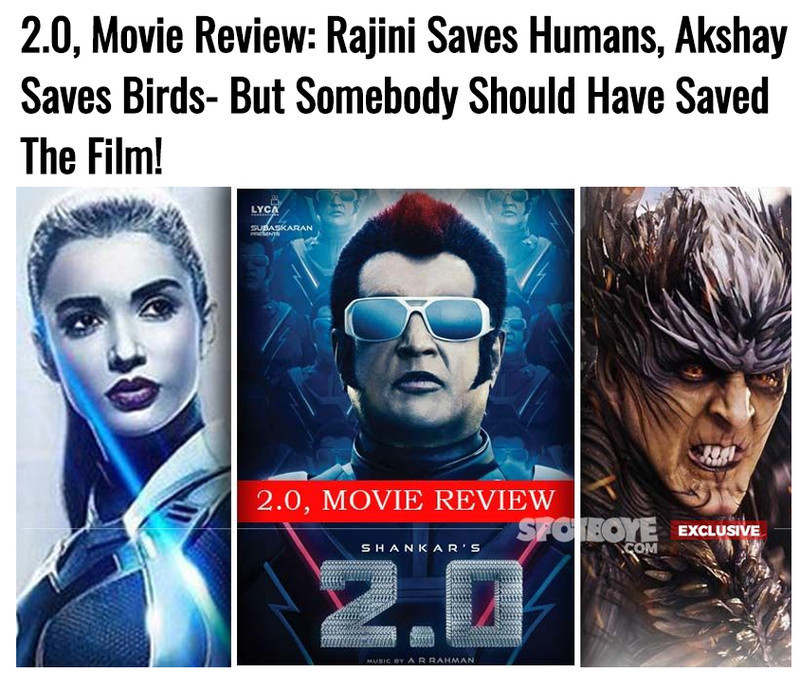 2 0 movie review rajini saves humans akshay saves birds but