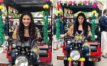 Amyra Dastur Displays Her Driving Skills, Rides A Rickshaw During Prassthanam Shoot