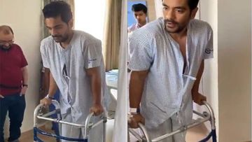 Angad Bedi Takes Baby Steps Post His Knee Surgery, Is Happy To Be Back On His Feet