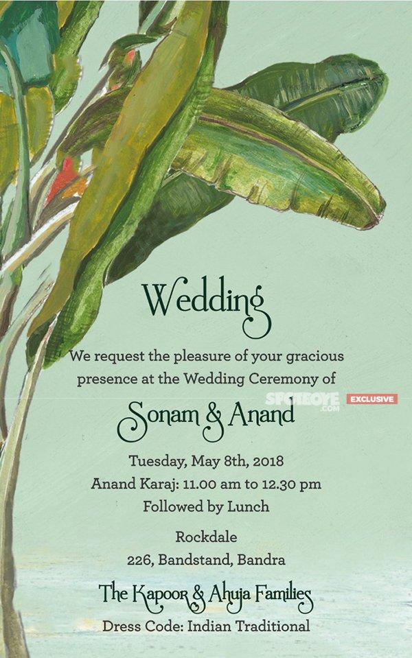 Sonam Anand s Wedding Invite