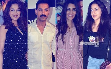 Madhuri Dixit, John Abraham, Kriti Sanon, Sara Ali Khan Light Up Toilet: Ek Prem Katha Screening