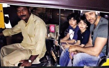 Hrithik Roshan's auto ride with Hrehaan and Hridhaan