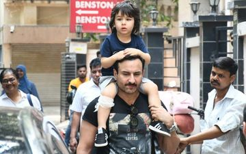 Saif Ali Khan Gives His Injured Son Taimur A Ride On His Shoulder; Little One Sports A Bandage