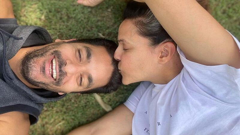 Angad Bedi Gives A First Glimpse Of His Son, Neha Dhupia Plants A Kiss On His Forehead