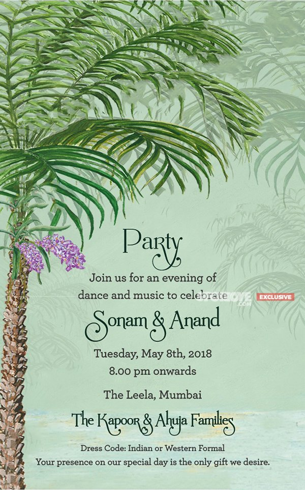 Sonam Kapoor Anand Ahuja s Reception E Card