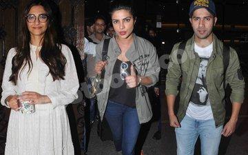 Spotted: Birthday child Sonam Kapoor, PeeCee & Varun Dhawan at the airport