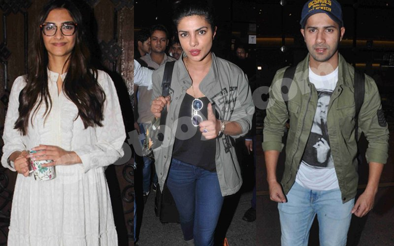 Spotted: Birthday child Sonam Kapoor, PeeCee & Varun Dhawan at the airport