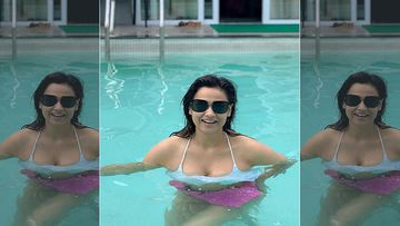 Shweta Tiwari Wears A Blue Bikini As She Plunges Into The Pool On A Much Needed Break After Recovering From COVID-19