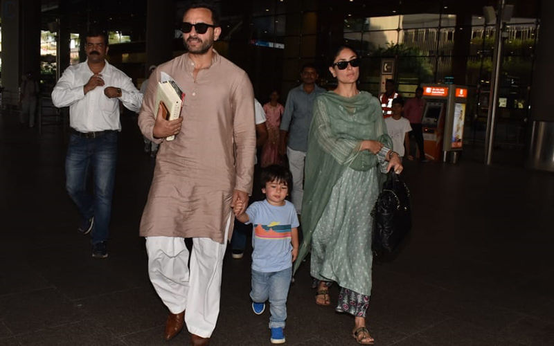Kareena Kapoor Khan And Saif Ali Khan Are Back From Pataudi, Get Clicked At The Airport With Taimur Ali Khan in Tow