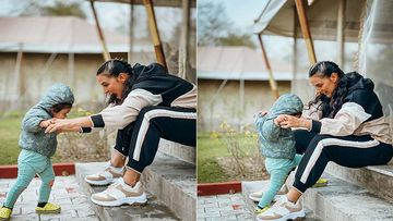 Neha Dhupia Is One Excited Momma As She Shares Glimpses Of  Daughter Mehr's First Baby Steps