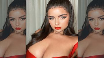 Demi Rose Posts Pic In Red Latex Tease Suit With Matching Collar; Says She Wants to Kick Coronavirus' Ass