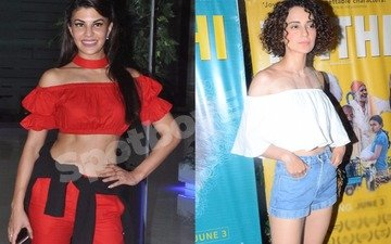 It's shoulders off for Jacqueline and Kangana