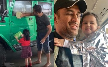 MS Dhoni's Little Daughter Ziva Dhoni Helps Him Wash His Latest Possession Jonga- Video Inside